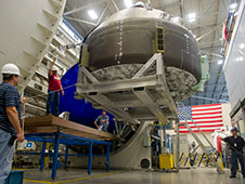 The Composite Crew Module being rolled into the vacuum chamber at Marshall's Environmental Test Facility. The test will continue through the end of the summer.