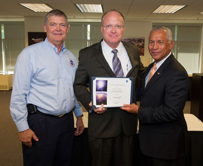 From left are NASA Chief Engineer Mike Ryschkewitsch, Marshall's Bob Williams and NASA Administrator Charlie Bolden.