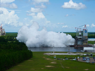 NASA engineers conducted a 550-second test of the new J-2X rocket engine at Stennis Space Center on July 13.