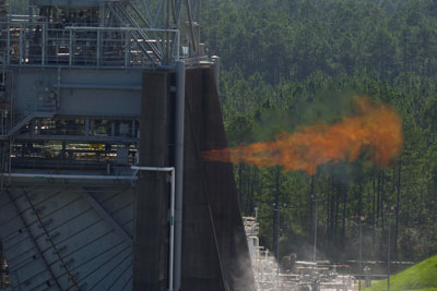 J-2X powerpack test at the Stennis Space Center on July 24, 2012.