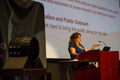 Dr. Barbara Cohen, a planetary scientist at the Marshall Center, spoke to more than 200 people at the U.S. Space & Rocket Center on Aug. 2 about the history and future of NASA's exploration of Mars.