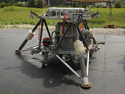 The 'Mighty Eagle,' a NASA robotic prototype lander, is undergoing a series of tests at the Marshall Center.