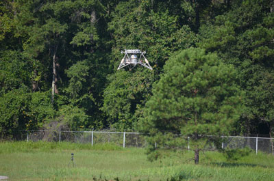 On Aug. 16, NASA's Mighty Eagle robotic prototype lander successfully found its target during a 32-second, untethered test. The vehicle reached an altitude of 30 feet, where it identified an optical target painted on the ground about 21 feet away, and descended for a safe landing.