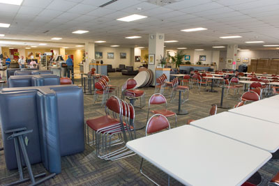 It's out with the old and in with the new in the Marshall Space Flight Center's Building 4203 cafeteria. The 20-year-old furniture has been replaced with a fresh look. Right, the old tables, chairs and booths are prepped for removal under the guidance of the Property Management Office.