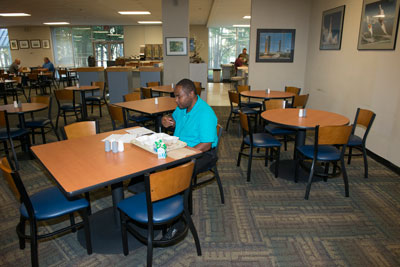 Albert Pulley, a facility system safety engineer in the Safety & Mission Assurance Directorate, gets his day started right with a little breakfast in the made-over cafeteria.