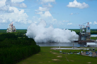 NASA engineers recently conducted a 550-second test of the new J-2X rocket engine at Stennis Space Center. The J-2X engine will power the upper-stage of a planned two-stage Space Launch System.