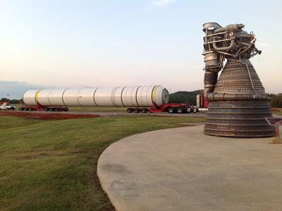 One empty, joined four-segment space shuttle solid rocket motor arrived at the Marshall Space Flight Center on Sept. 21.