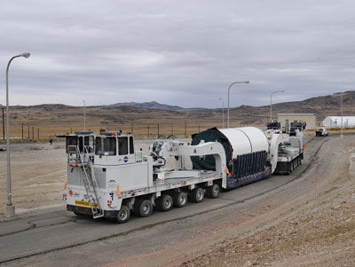 ATK moves a segment of the solid rocket booster for assembly at the company's facility in Promontory, Utah.