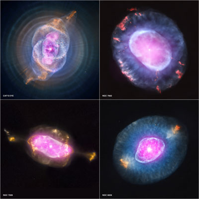 Four planetary nebulas from the first systematic survey of such objects in the solar neighborhood made with NASA's Chandra X-ray Observatory.