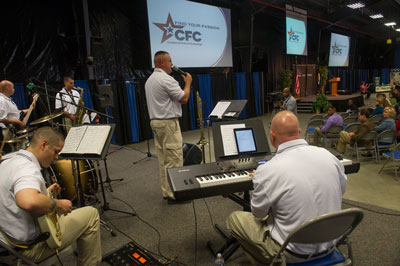 The U.S. Army Materiel Command Band played tunes and sang a patriotic song during the CFC rally. Miss Alabama, Anna Laura Bryan, also sang two songs including the hymn,