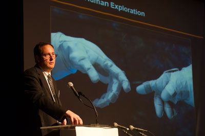 NASA Associate Administrator Robert Lightfoot gives the keynote speech during the fifth annual Wernher von Braun Memorial Symposium held at the University of Alabama in Huntsville on Oct. 15-18.