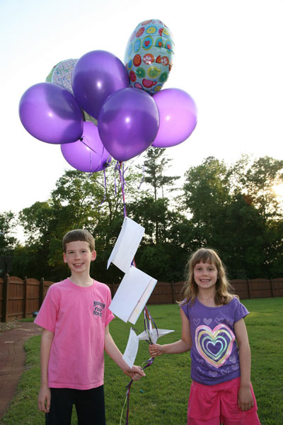 To honor their mother's memory, Matthew Freestone, 10, and Julia Freestone, 8, sent balloons and letters up to the sky on Mother's Day in 2011.