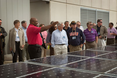 A group from the organization Energy Huntsville took a windshield tour of the Marshall Space Flight Center on Oct. 18 to learn about what the center has done -- and is going to do -- to 'go green.'