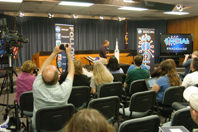 Tom Erdman, deputy manager of the Marshall Center Resident Office at the Kennedy Space Center, explains the future of human exploration to guests of the NASA Social -- an opportunity for social media followers of NASA to get behind-the-scenes access to the agency.