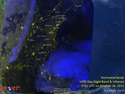 This Oct. 26 image from NASA's Short-term Prediction Research and Transition Center shows Hurricane Sandy near the East Coast of the United States.