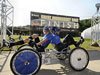 The team from the University of Alabama in Huntsville finish the 19th annual NASA Great Moonbuggy Race with a completion time of 4 minutes and 3 seconds, earning first place in the college division of the race.