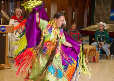 Tiffany Gandy, a fancy shawl dancer, performs a colorful dance during Marshall's Native American Heritage Month event.