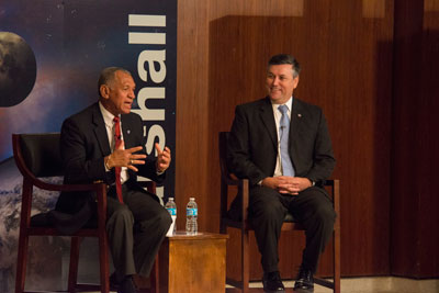 NASA Administrator Charles Bolden, left, joined Marshall Center Director Patrick Scheuermann Nov. 28 for an all-hands meeting with members of the Marshall Center workforce.