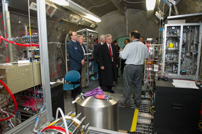 From left, NASA Advisory Council members Dr. Larry Smarr, Robert Hanisee and Dr. William Ballhaus, receive a tour of the Environmental Control and Life Support System, or ECLSS, test facilities in Building 4755 from ECLSS Branch Chief Bob Bagdigian, right.