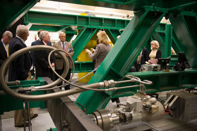 Members of the NASA Advisory Council learn about Marshall's Hardware-in-the-Loop Simulation Laboratory.