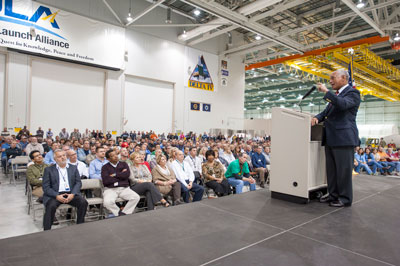 NASA Administrator Charles Bolden addresses United Launch Alliance workers at the company's Decatur production facility.