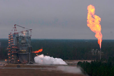 A J-2X power pack assembly burns brightly during a hot fire test Nov. 27 at the Stennis Space Center.