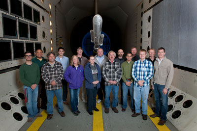 Members of the Aeroelasticity Branch of the Langley Research Center who tested the 10-foot-long buffet model of the Space Launch System in Langley's Transonic Dynamics Tunnel.
