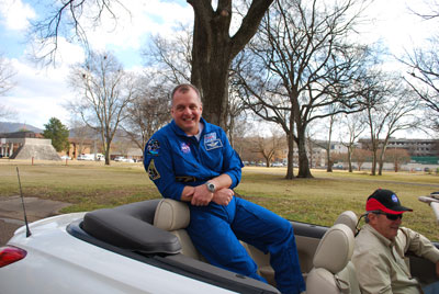Astronaut TJ Creamer was a special guest in the WAAY 31 Christmas Parade. Marshall Center team members also took part in the holiday fun, walking behind Creamer's car, greeting parade goers.