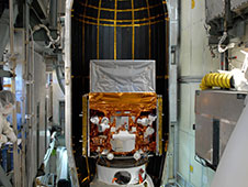 This photograph, taken in May 2008 as the Fermi Gamma-ray Space Telescope was being readied for launch, highlights the detectors of the spacecraft's Gamma-ray Burst Monitor (GBM). The GBM is an array of 14 crystal detectors designed for transient lower-energy gamma-ray outbursts, such as TGFs.