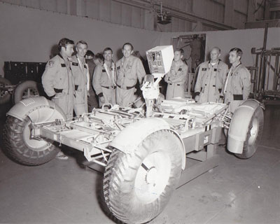 Apollo 16 and Apollo 17 astronauts helped test the Lunar Roving Vehicle deployment system at the Marshall Space Flight Center, the NASA center responsible for designing and testing the rover.