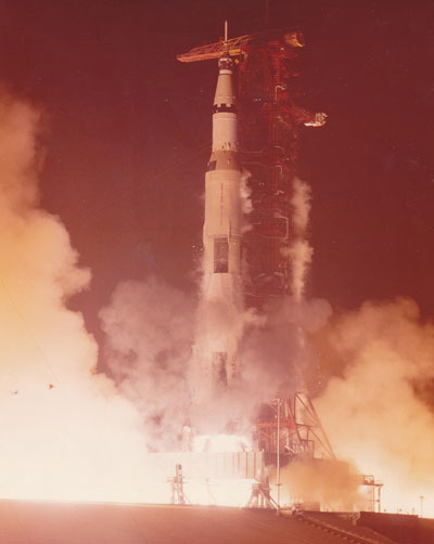 The last launch of a Saturn V on a lunar mission took place at 11:33 p.m. CST on Dec. 7, 1972, at the Kennedy Space Center.
