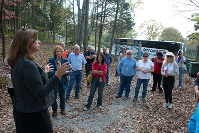 During a CFC bus tour, Marshall Center team members hear how CFC contributions benefit the Land Trust of North Alabama.