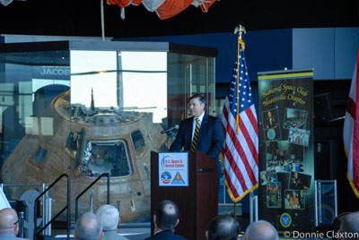 NASA's Marshall Space Flight Center Director Patrick Scheuermann addresses the Huntsville chapter of the National Space Club at the second-annual Membership Appreciation Breakfast on Dec. 12.
