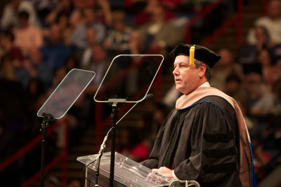 NASA's Marshall Space Flight Center Director Patrick Scheuermann gives the fall 2012 commencement speech Dec. 15 at the University of New Orleans. Scheuermann is a native of New Orleans and received a bachelor's degree in mechanical engineering in 1986 from the university.