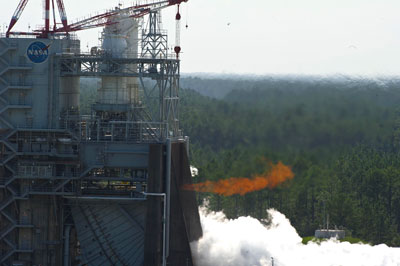NASA set a record while testing the J-2X powerpack at the Stennis Space Center in July. Engineers ran a 1,350-second test of the engine component on the A-1 Test Stand, below, the longest duration test ever completed on that particular test stand.