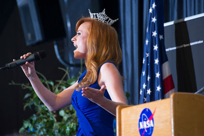 Miss Alabama, Anna Laura Bryan, sings the hymn, 'How Great Thou Art' at the CFC kickoff rally Oct. 3. Bryan, a keynote speaker, emphasized the importance of giving, and autism awareness -- her pageant platform.