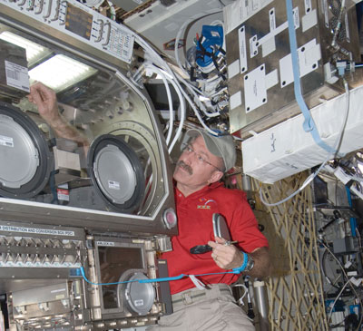 Expedition 30 Commander Dan Burbank works with hardware inside the Microgravity Science Glovebox aboard the International Space Station.