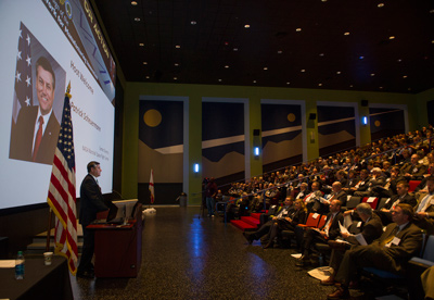 Marshall Center Director Patrick Scheuermann welcomes more than 350 guests to the National Network for Manufacturing Innovation workshop, held Jan. 16 at the U.S. Space & Rocket Center's Davidson Center for Space Exploration. Marshall cosponsored the public workshop.