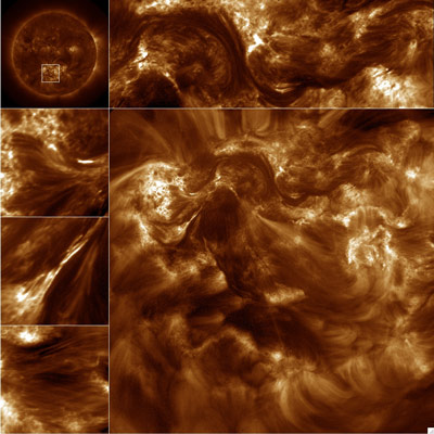 This Hi-resolution Coronal Imager full resolution image is from the solar active region outlined in the Atmospheric Imaging Assembly image, upper left.