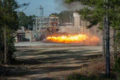 The gas generator from an F-1 engine is test-fired at the Marshall Space Flight on Jan. 24.