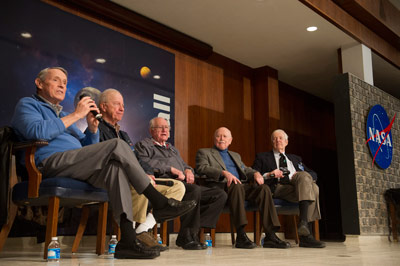 Skylab astronauts, from left, Edward 'Ed' G. Gibson, Paul J. Weitz, William 'Bill' R. Pogue, Gerald 'Gerry' P. Carr, and Joseph 'Joe' P. Kerwin shared highlights from their missions.