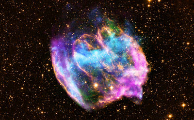 W49B, the highly distorted supernova remnant shown in this image, may contain the most recent black hole formed in the Milky Way galaxy.