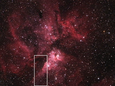 This image shows asteroid 2012 DA14 and the Eta Carinae Nebula, with the white box highlighting the asteroid's path.