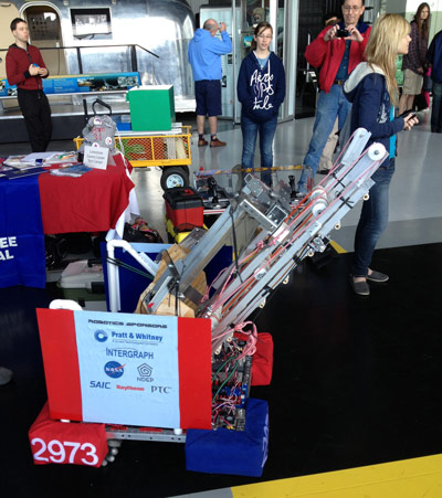A student team from the Limestone County Career Technical Center in Athens, Ala., showcases its top-notch technology at the 'Robots to Rocket City' event Feb. 17.