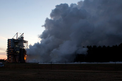 NASA engineers conduct the first in a new round of tests on the next-generation J-2X rocket engine Feb. 15 at the Stennis Space Center.