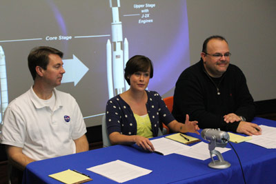 Don Krupp, left, SLS Control Systems manager; Mallory Johnston, SLS Flight Systems engineer; and John Rector, SLS Stages Green Run test manager, during a live video teleconference with local middle schools at the Millard Oakley STEM Center at Tennessee Tech University in Cookeville.