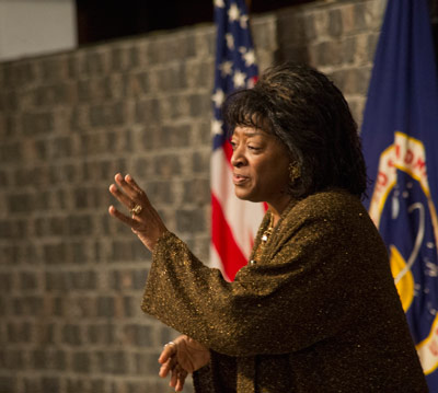 Dr. Tonea Stewart, an actress and director of theatre arts at Alabama State University in Montgomery, shares stories and songs with NASA Marshall Space Flight Center team members Feb. 26 at the Black History Month observance program. The Voices of Marshall chorus also performed at the event.