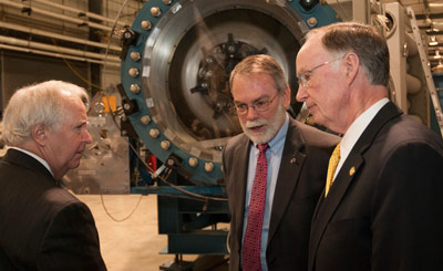 From left, Dr. Robert Altenkirch, president of the University of Alabama in Huntsville; Dr. Dale Thomas, associate director of NASA's Marshall Space Flight Center; and Alabama Gov. Robert Bentley.