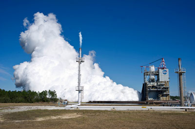 J-2X engine testing at Stennis Space Center on February 27, 2012