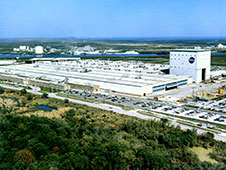 An aerial view of the primary manufacturing facility at NASA's Michoud Assembly Facility in New Orleans.